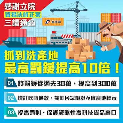 貿易法修正案三讀通過 中國製品來台洗產地經部祭重罰