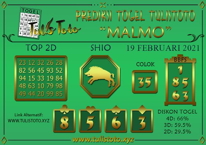 Prediksi Togel MALMO TULISTOTO 19 FEBRUARI 2021