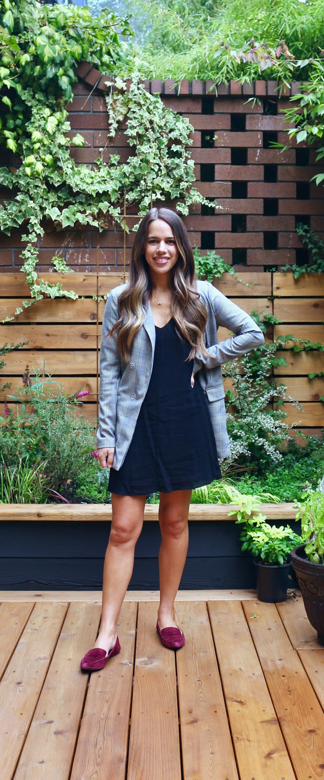 Jules in Flats - Plaid Blazer with V-Neck Shift Dress (Business Casual Workwear on a Budget)