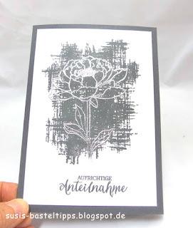 Beileidskarte, Kondolenzkarte, Trauerkarte, Mitgefühl gestempelte handgemachte karte von stampin up demonstratorin in coburg