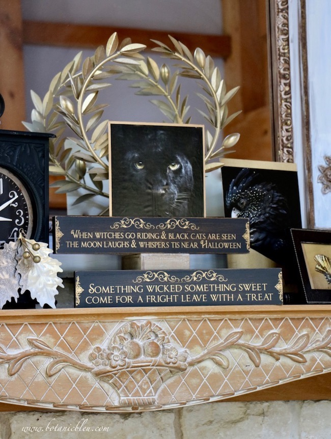 Elegant halloween black and gold mantel with black animal prints with gold edge borders