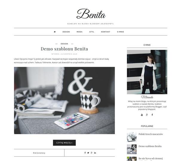 BENITA: szablon na bloga blogger /blogspot/