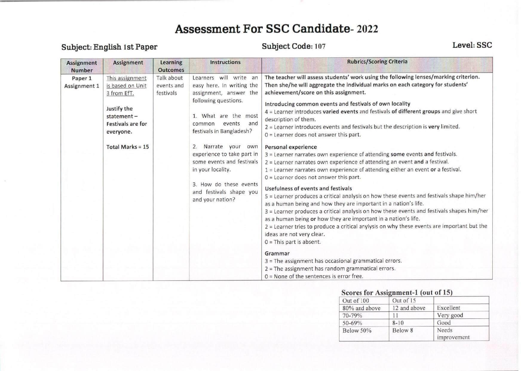 SSC Bangladesh O Bissoporicoy Assignment 2nd Week