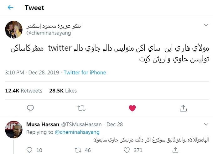 Raja Permaisuri Agong tweet dengan tulisan Jawi sepenuhnya!