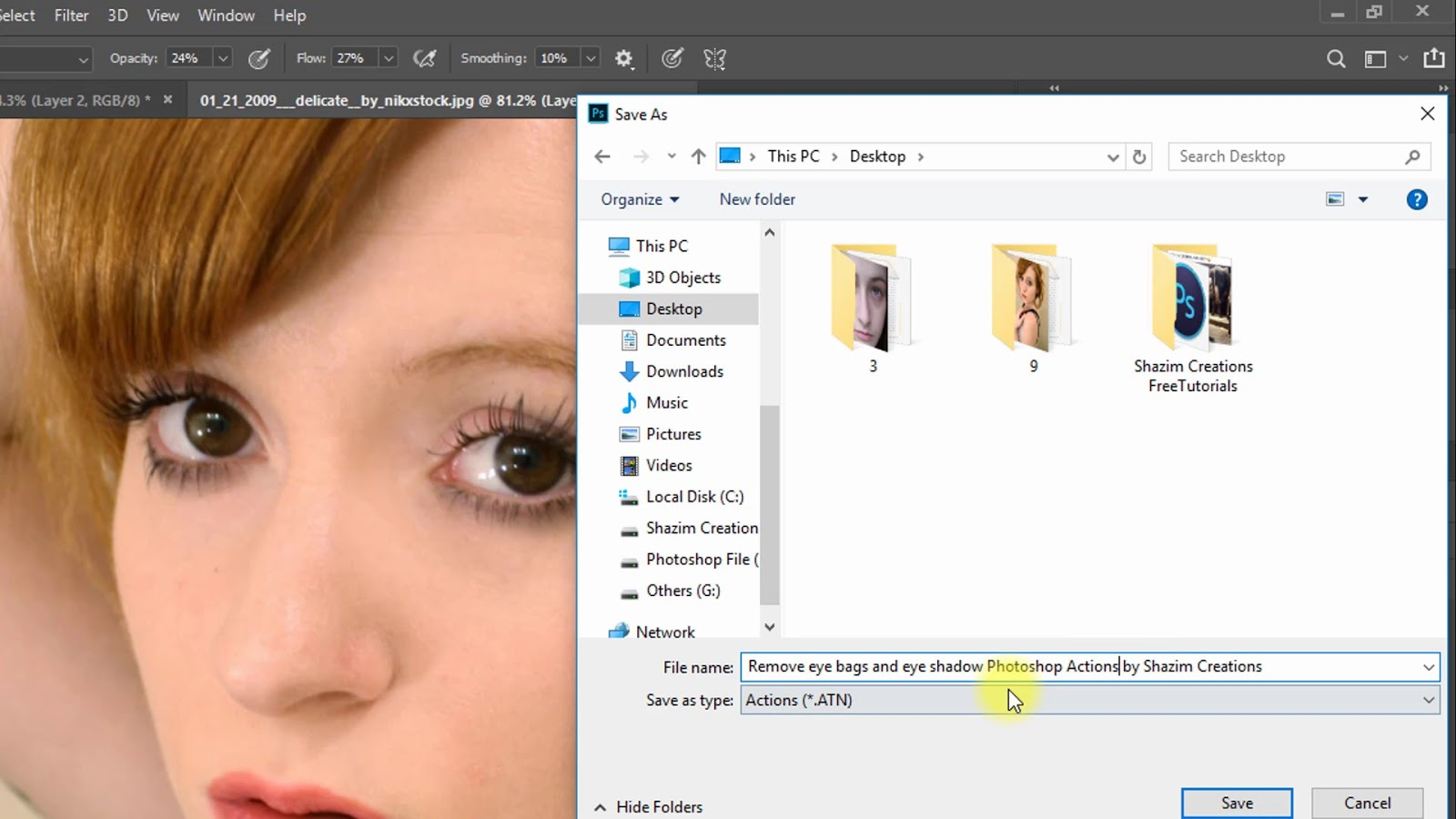 Remove Eye bags and Eye Dark Circle Photoshop Actions