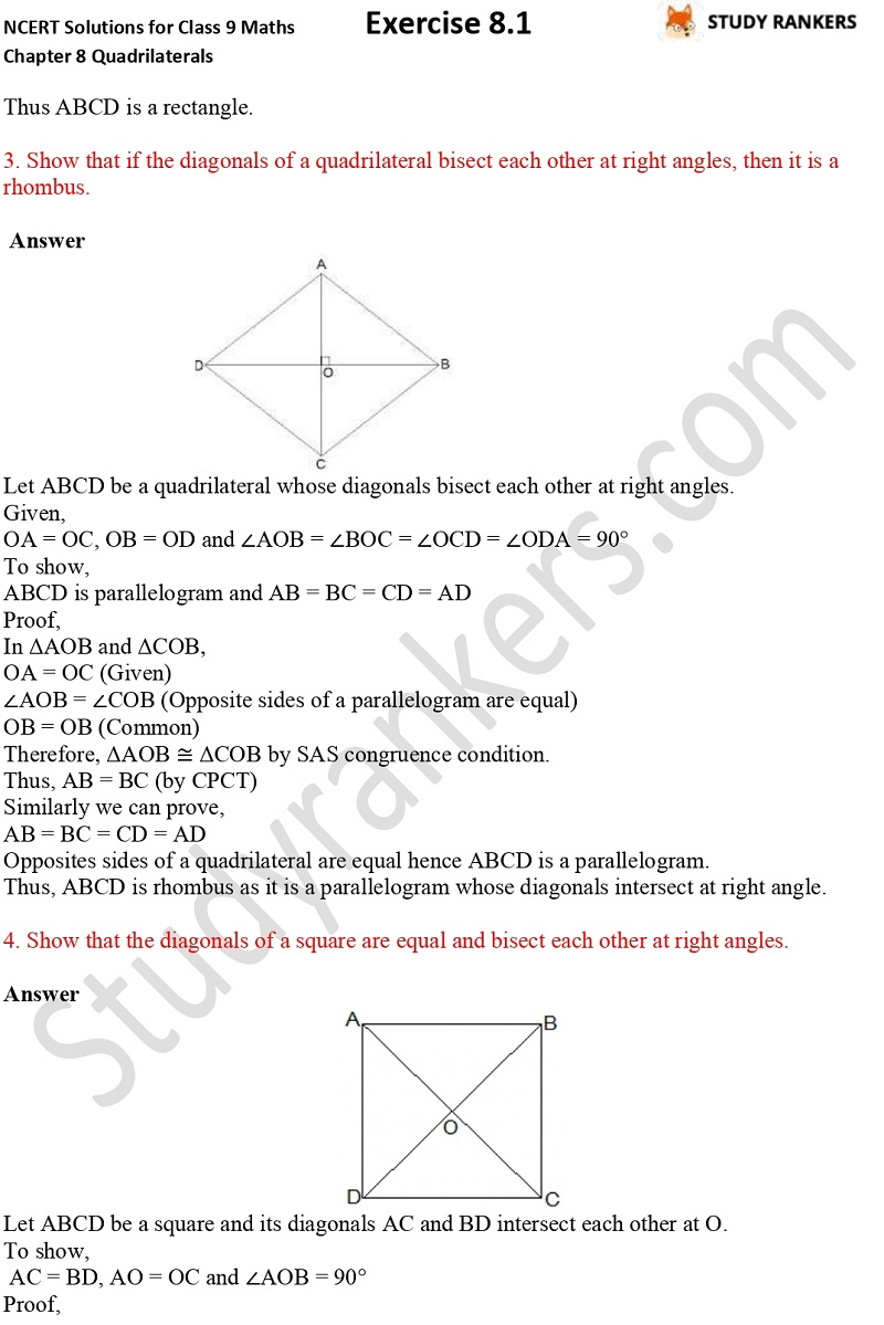 .NCERT Solutions for Class 9 Maths Chapter 8 Quadrilaterals Exercise 8.1 Part 2