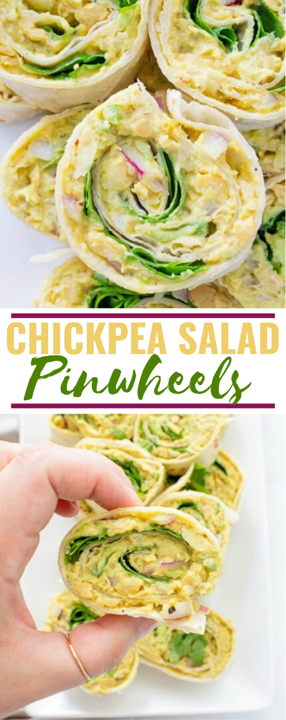 Chickpea Salad Pinwheels #vegan #lunch #appetizers #meatless #breakfast