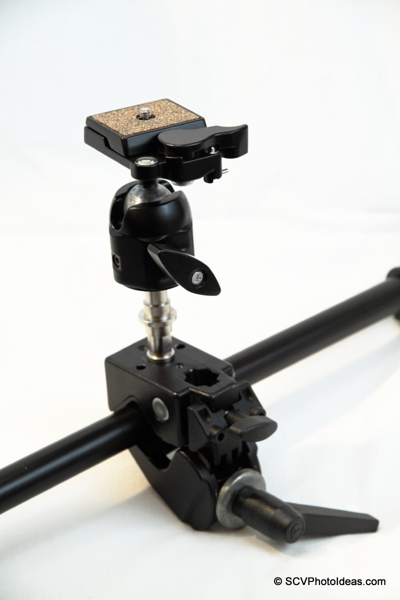 Manfrotto Super Clamp 35 clamped on tube w/ ballhead