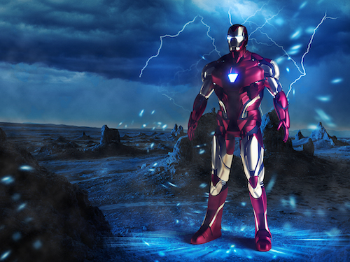 3D Iron man blue background