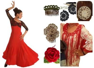 Complementos esenciales traje de flamenca a ganchillo