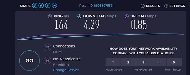 Testen der Internetgeschwindigkeit - Okt 2019 durch wilirax