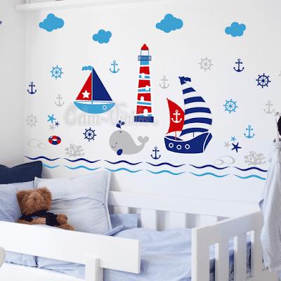 vinilo decorativo infantil nautico barco faro velero nubes estrellas marinas anclas timon