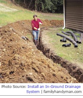 installing underground gutter drain pipes