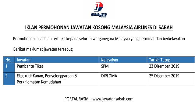 Terkini Pengambilan Pekerja Malaysia Airlines Di Sabah Jawatan Kosong Sabah