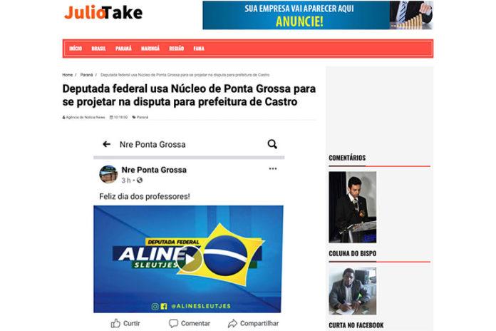 Rede Social do NRE de Educação de PG teria sido utilizada por AlineSleutjes para promoção política