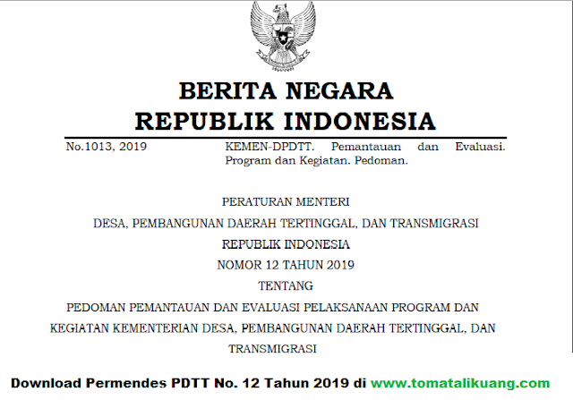 Download Permendes PDTT Nomor 12 tahun 2019; tomatalikuang.com