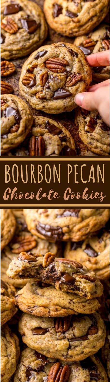 Brown Butter Bourbon Pecan Chocolate Chunk Cookies #cookies #desserts #baking #adult #recipes