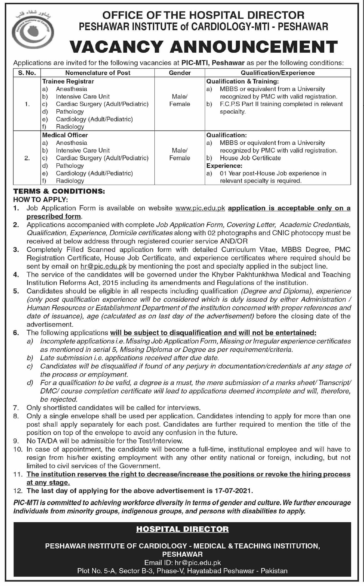 Jobs in Peshawar Institute of Cardiology