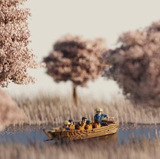 Voxel Cherry Blossom Trees