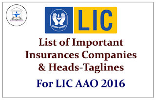 List of Important Insurances Companies and Heads-Taglines for LIC AAO 2016