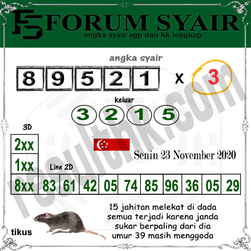 Forum Syair SGP Senin 23 November 2020