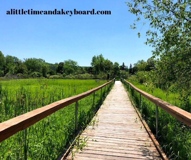 Hiking along a boardwalk on Kishwauketoe Trail in Williams Bay, Wisconsin