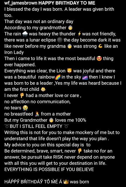 """""""I never had a mother's love"""" James Brown narrates his birth story as he reveals that his aunt wanted him aborted"""