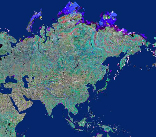 Gambar Peta Asia tampak dari satelit