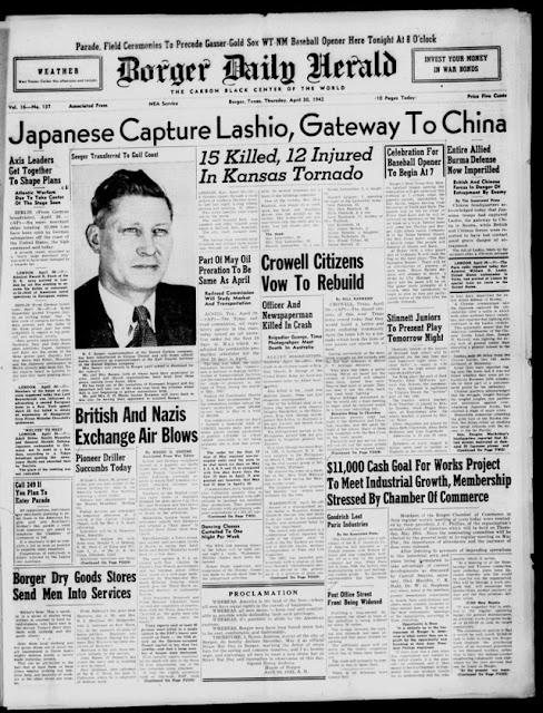 Borger, Texas, Daily Herald, 30 April 1942 worldwartwo.filminspector.com