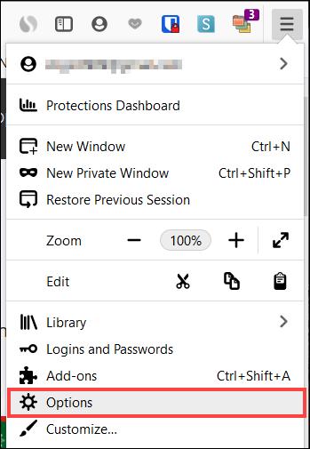 انقر فوق قائمة ، خيارات في Windows