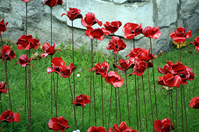 Ceramic poppies in the grassy moat of the Tower of London were sold after the project was finished.