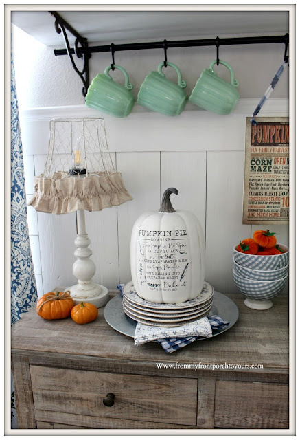 Fall Breakfast Nook Decor-Farmhouse-Cottage-Recipe-Pumpkin Pie-Pioneer Woman-Timeless Beauty-Jadeite-From My Front Porch To Yours