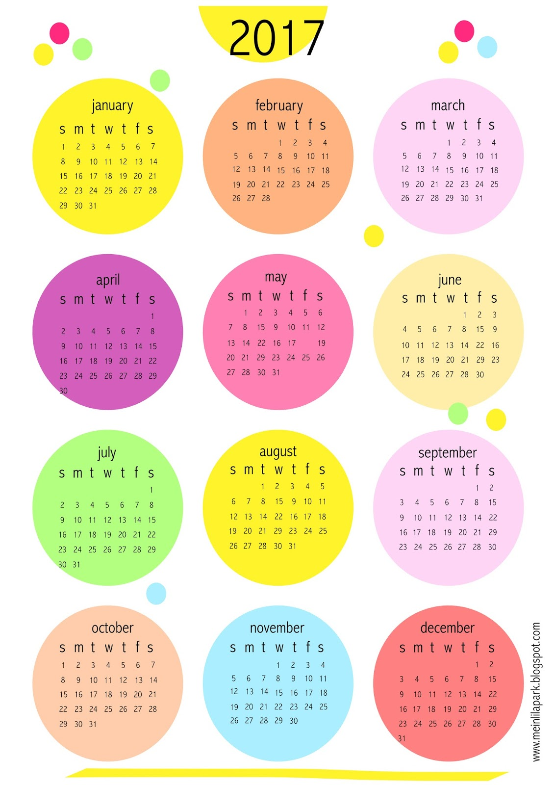2017 Calendar Printable Monthly Pretty | Printable ...