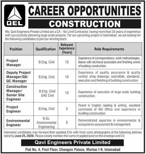 Qavi Engineering Private Limited Islamabad Offered new jobs for june 2020