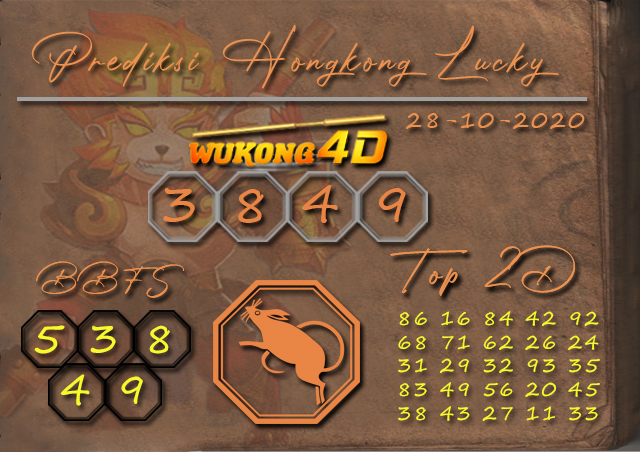 Prediksi Togel HONGKONG LUCKY 7 WUKONG4D 28 OKTOBER 2020