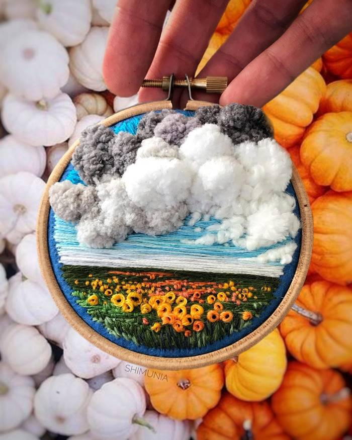 Scenic landscapes on volumetric mini-embroideries by Vera Shimunia | Air clouds, rainbow sunsets and other beauties by Vera Shimunia