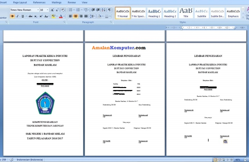 Cara Membuat Laporan Di Laptop Menggunakan Ms Word Trik Tips Komputer Laptop 2021