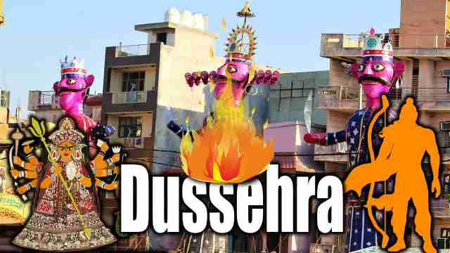 Image of Ravana and lord Ram with goddess Durga used for dussehra essay
