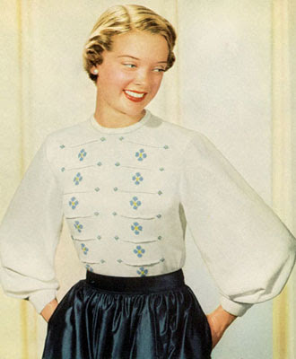 The Vintage Pattern Files : Free 1950's Knitting Pattern - Evening at Home Blouse
