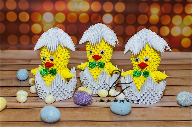 652. Kurczaki w skorupkach z origami / 3d origami easter chicken