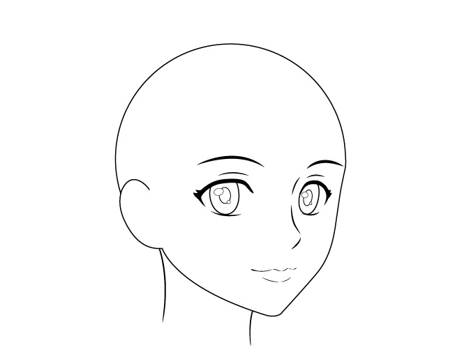 Anime female head 3/4 view