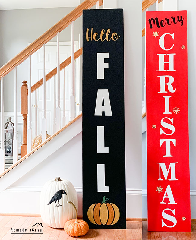 black Hello Fall & Red Merry Christmas sign