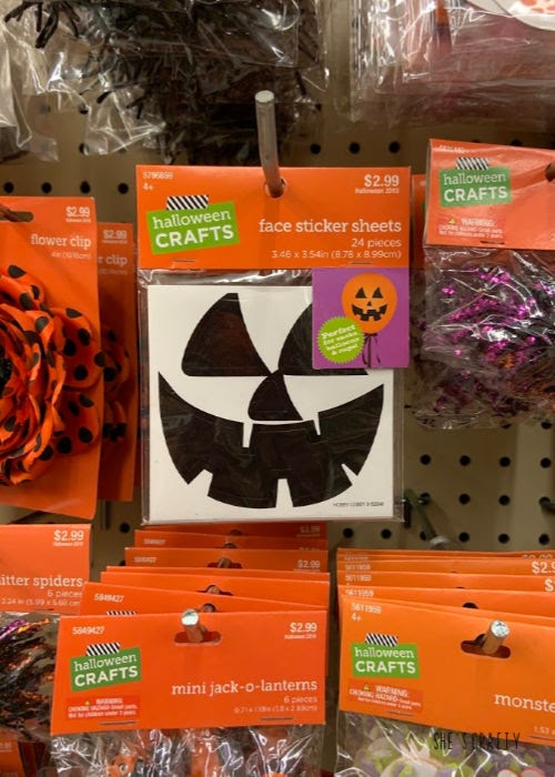 pumpkin face stickers from Hobby Lobby