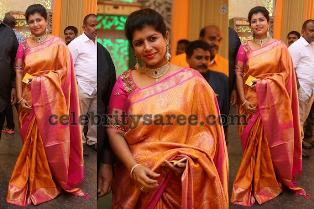 Nikitha Reddy Mustard Silk Saree