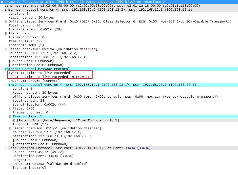 تجاوز Wireshark Capture Traceroute ICMP TTL
