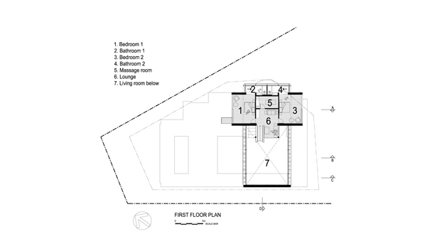 First floor plan of Stunning Spa House in Cape Town, South Africa