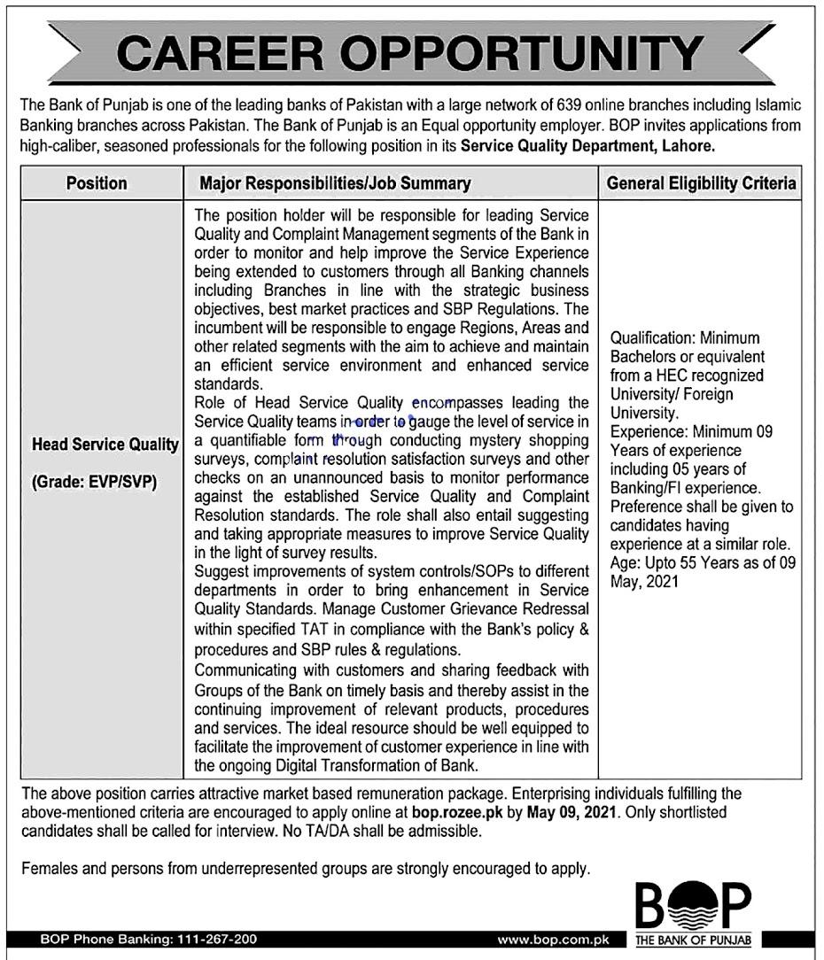 The Bank of Punjab Banking Latest Jobs 2021 BOP