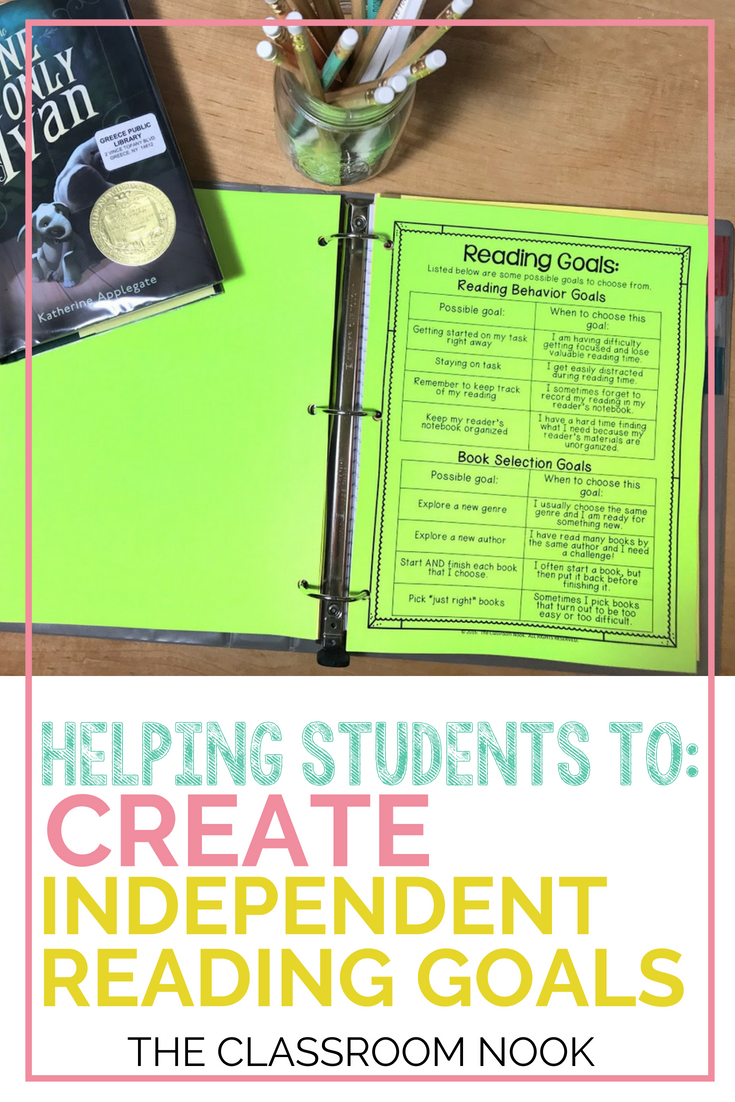 Help students to grow as readers by helping them to set independent reading goals.  A must read for any elementary teacher!  #reading #readersworkshop #teaching #elementary