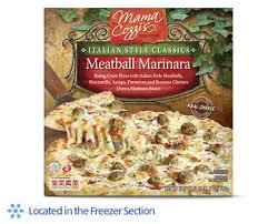 A stock image of Mama Cozzi's Italian Meatball Marinara Frozen Pizza, from Aldi