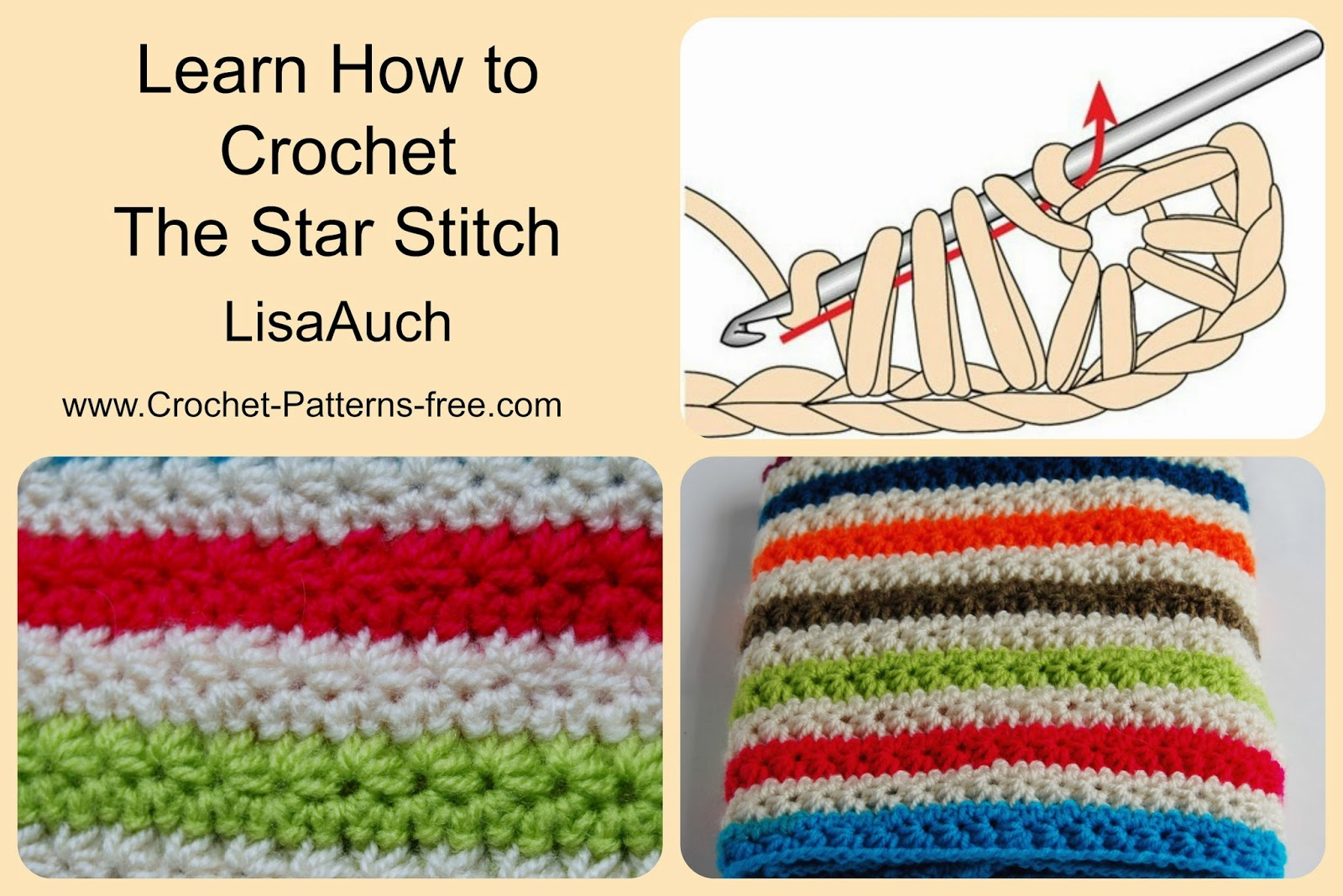 Free Crochet Patterns and Designs by LisaAuch: Learn to Crochet ...